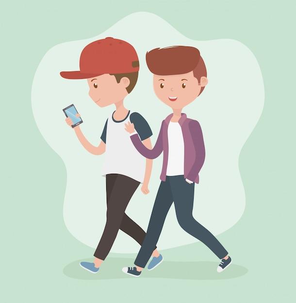 Jeunes Garçons Marchant Avec Un Smartphone Vecteur gratuit