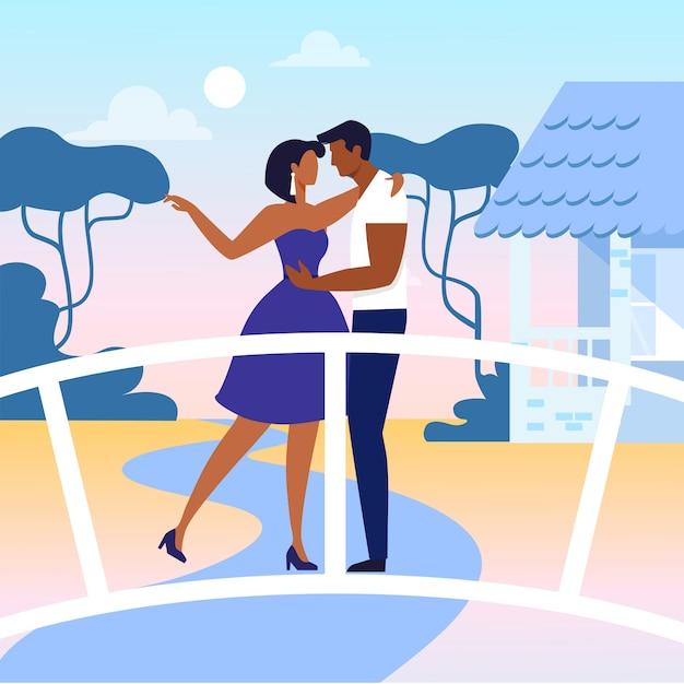 Jeunes gens en amour plat vector illustration Vecteur Premium