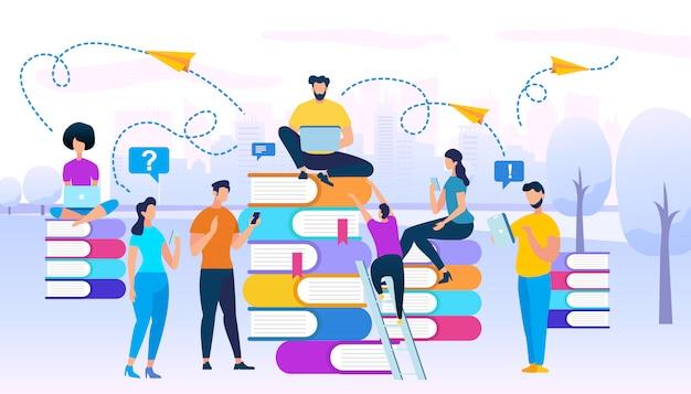 Jeunes gens assis ensemble sur des tas de livres Vecteur Premium