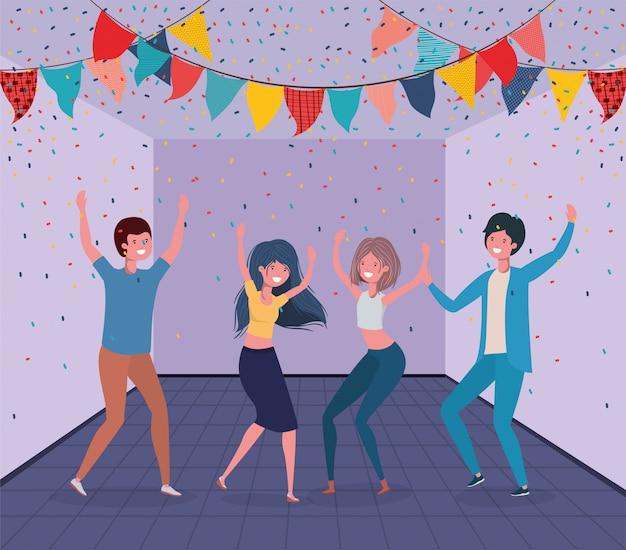Jeunes gens danser dans la chambre Vecteur gratuit