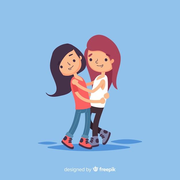 Jeunes gens embrassant fond Vecteur gratuit