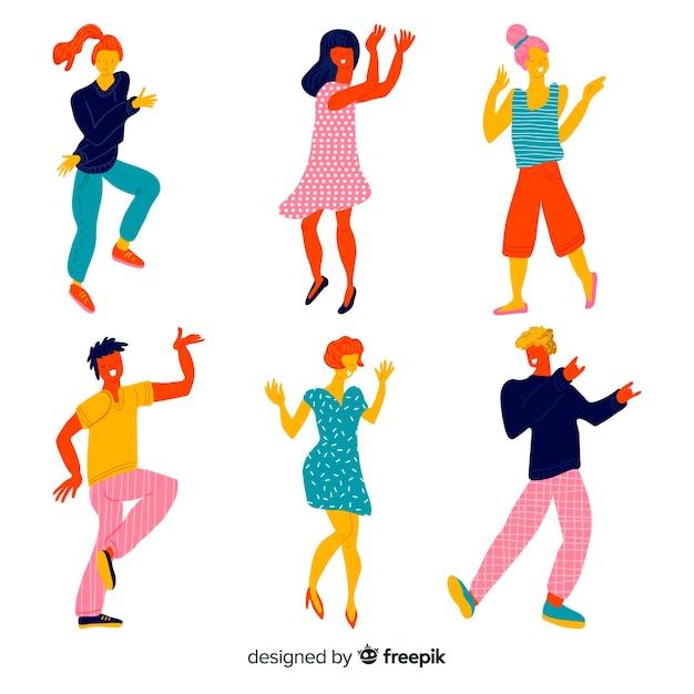 Jeunes gens qui dansent Vecteur gratuit