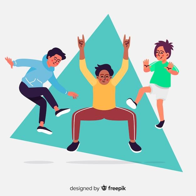 Jeunes gens sautant illustration design Vecteur gratuit