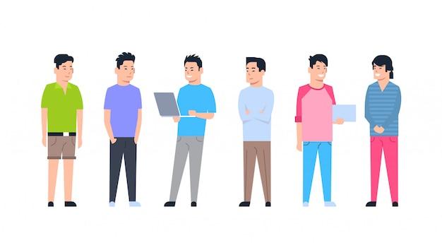 Jeunes Hommes Asiatiques Icons Set Chinois Vecteur Premium