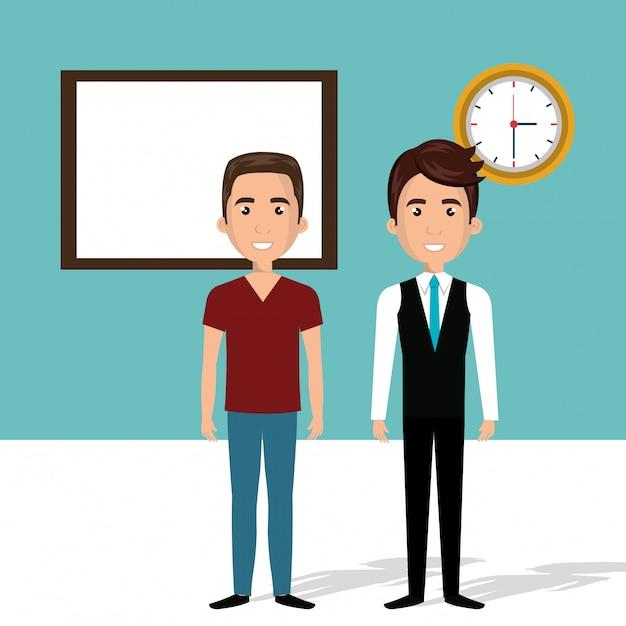 Jeunes hommes dans la scène des personnages de la classe Vecteur gratuit