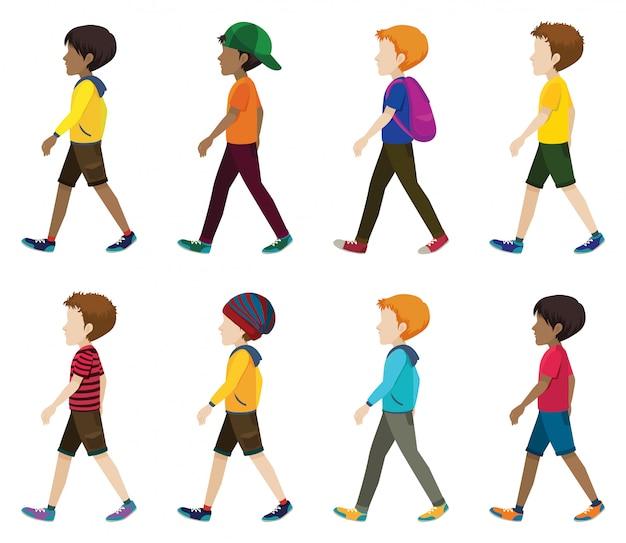 Jeunes Hommes Sans Visage Marchant Vecteur gratuit