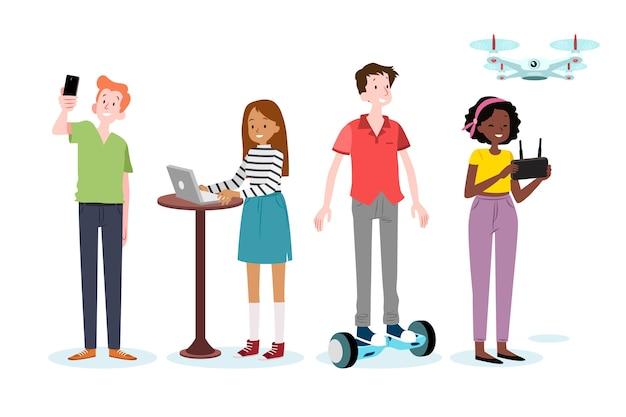 Jeunes Avec Hoverboard Et Drone Vecteur gratuit