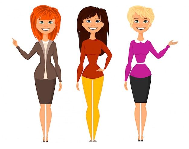 Jeunes jolies femmes en tenue de bureau intelligente Vecteur Premium