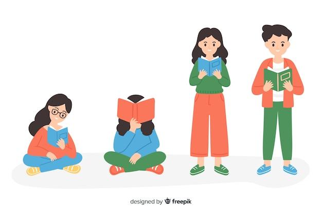 Jeunes lisant une collection de livres Vecteur gratuit