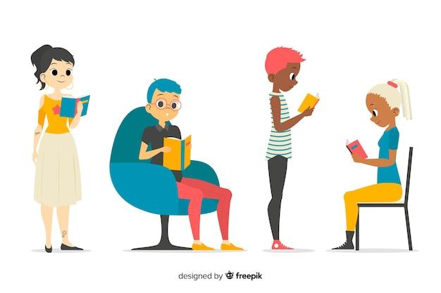 Jeunes lisant la collection Vecteur gratuit