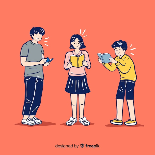 Jeunes lisant dans un style de dessin coréen Vecteur gratuit