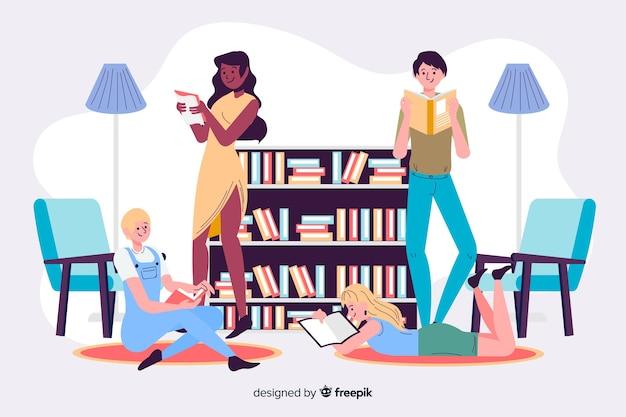 Jeunes lisant ensemble Vecteur gratuit