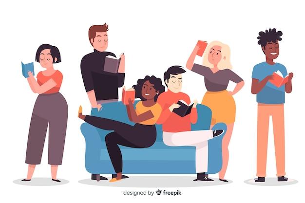 Jeunes lisant un livre Vecteur gratuit