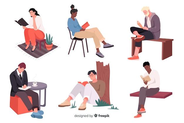 Jeunes lisant et se relaxant Vecteur gratuit