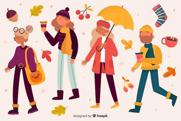 Jeunes marchant dans le parc illustré Vecteur gratuit