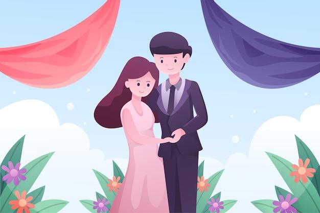 Jeunes Mariés Se Marier Vecteur gratuit