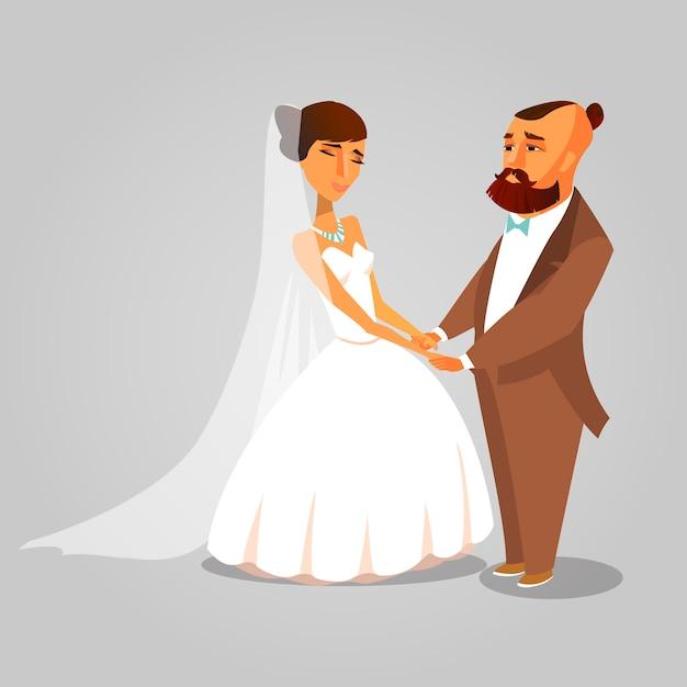 Jeunes mariés, tenant par la main dessiné des cliparts. Vecteur Premium