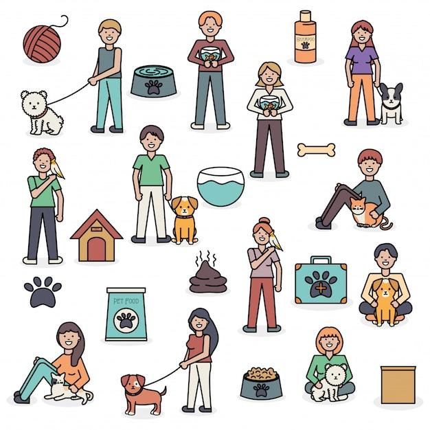 Jeunes avec mascottes et accessoires adorables Vecteur gratuit