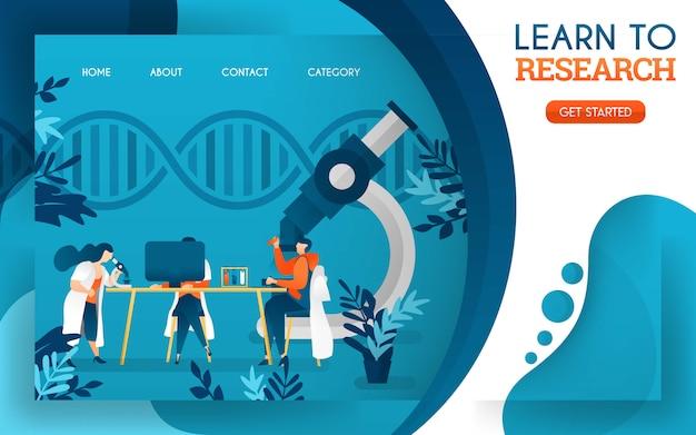 De jeunes médecins étudient la recherche à l'aide d'ordinateurs et de microscopes Vecteur Premium