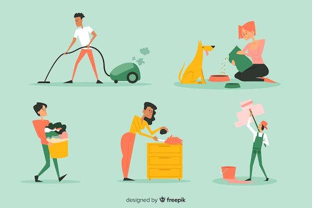 Jeunes nettoyant la maison ensemble Vecteur gratuit