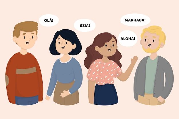 Jeunes Parlant Dans Différentes Langues Vecteur gratuit