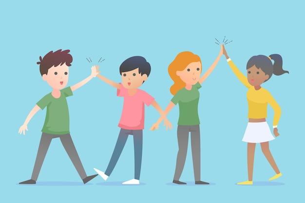Les jeunes qui donnent haut cinq Vecteur gratuit