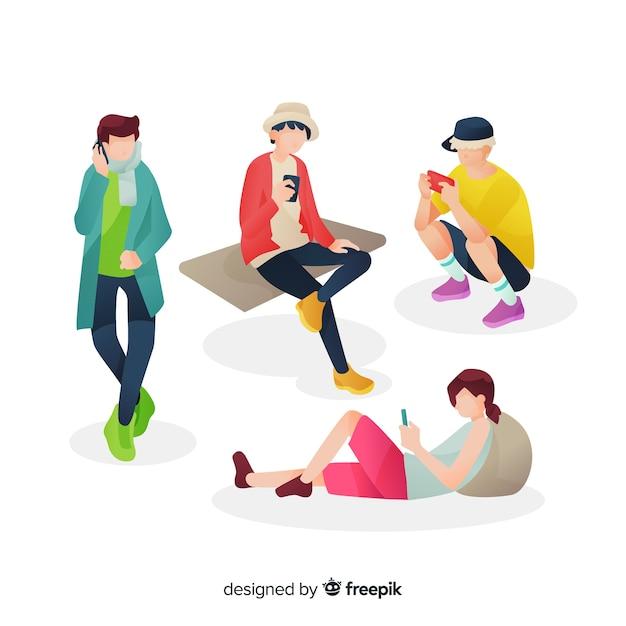 Les jeunes qui regardent leurs smartphones Vecteur gratuit