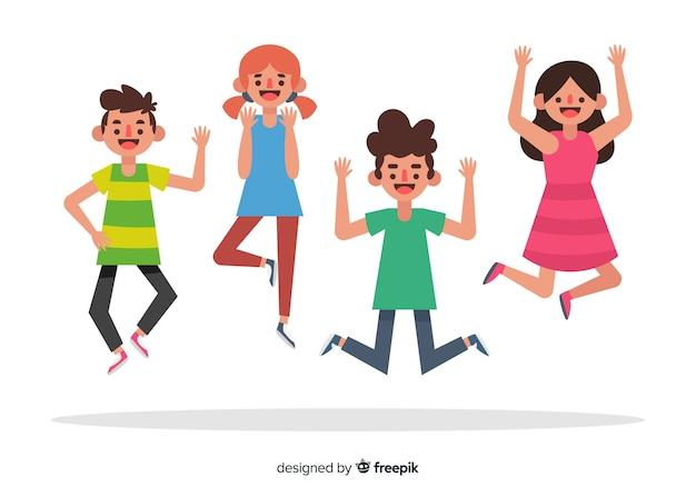 Jeunes sautant ensemble illustrés Vecteur gratuit