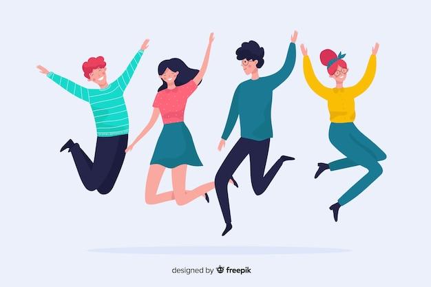Jeunes sautant et s'amusant Vecteur gratuit