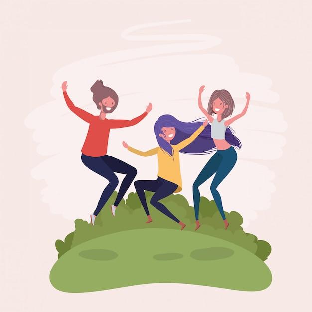 Jeunes sautant en train de célébrer dans les personnages du parc Vecteur gratuit