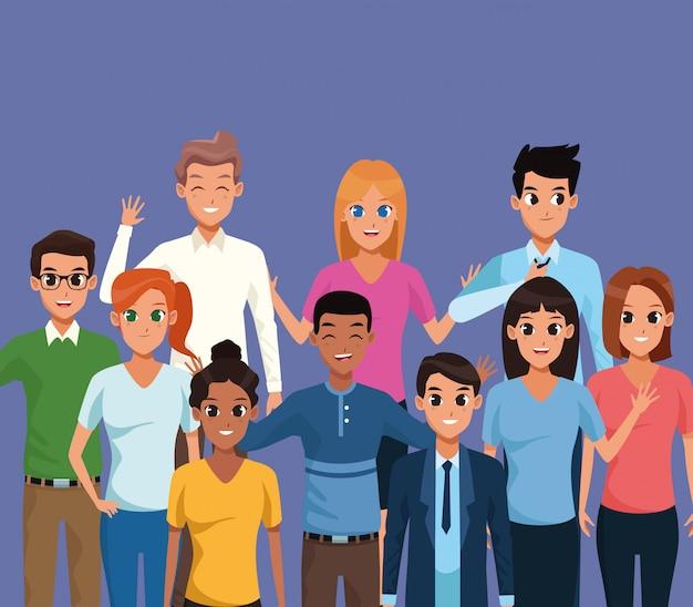 Jeunes souriant sur fond bleu Vecteur gratuit