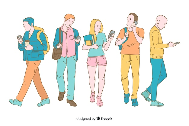 Jeunes tenant des smartphones dans un style de dessin coréen Vecteur gratuit