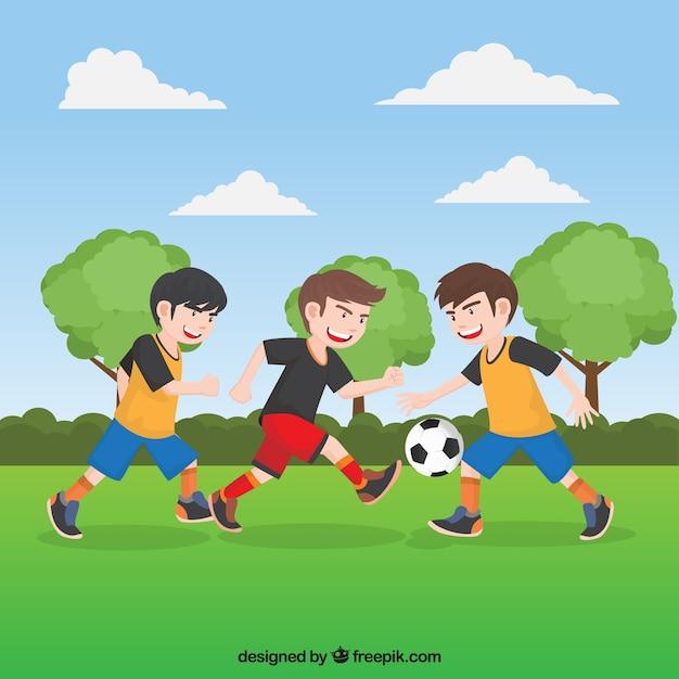 Jeunesse match de football fond Vecteur gratuit
