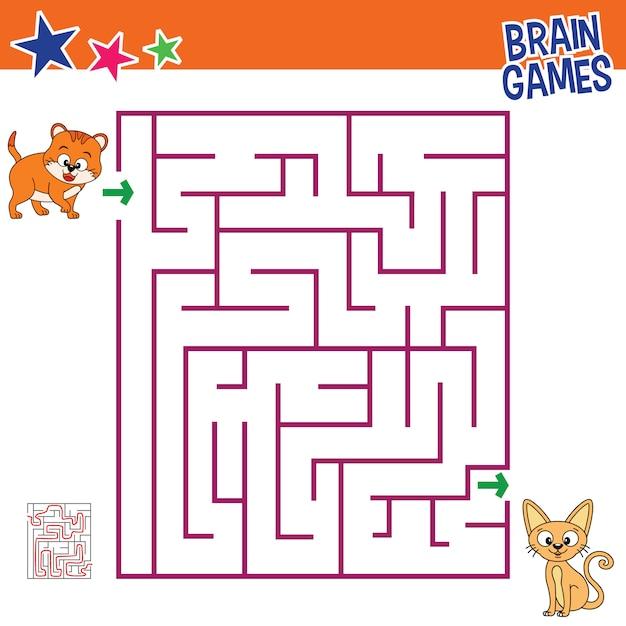 Jeux de cerveau de chat pour les enfants, activité pour les enfants Vecteur Premium