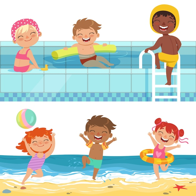 Jeux d'eau d'été au parc aquatique, enfants drôles de dessin animé Vecteur Premium