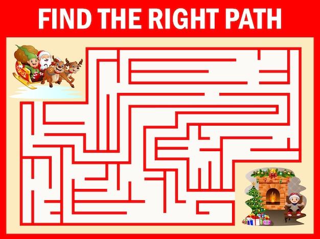 Les jeux maze santa claus trouvent leur chemin vers la cheminée Vecteur Premium