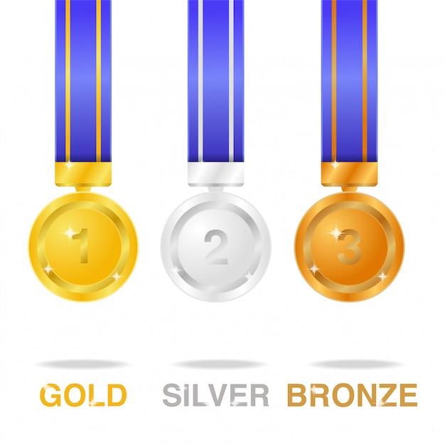 Jeux olympiques de médaille brillants et réalistes Vecteur Premium