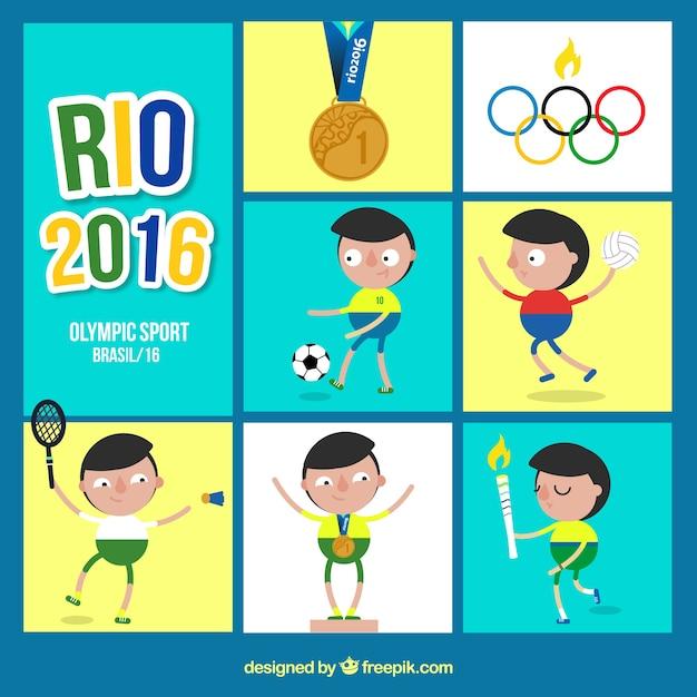 Jeux olympiques rio 2016, fond Vecteur gratuit