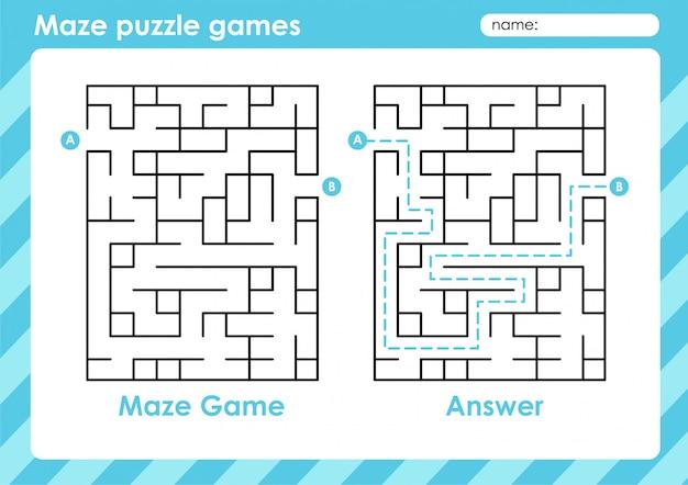 Jeux De Puzzle De Labyrinthe - Activité Pour Les Enfants: Rectangle Vecteur Premium