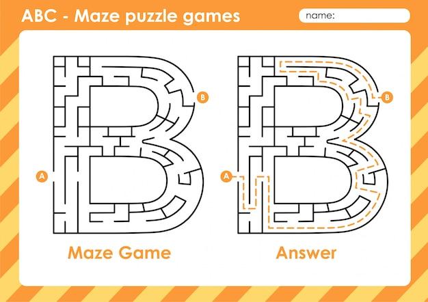 Jeux De Puzzle De Labyrinthe - Alphabet A à Z Jeu De Jeu Amusant Pour Les Enfants Lettre: B Vecteur Premium