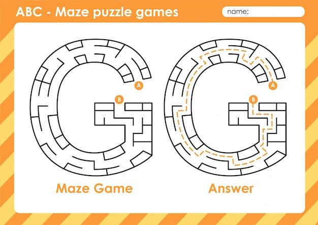 Jeux De Puzzle De Labyrinthe - Alphabet A à Z Jeu De Jeu Amusant Pour Les Enfants Lettre: G Vecteur Premium