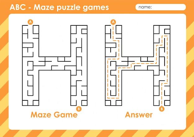 Jeux De Puzzle De Labyrinthe - Alphabet A à Z Jeu De Jeu Amusant Pour Les Enfants Lettre: H Vecteur Premium