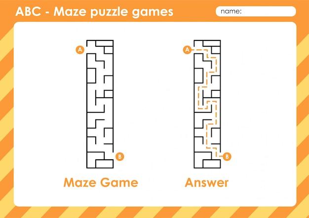 Jeux De Puzzle De Labyrinthe - Alphabet A à Z Jeu De Jeu Amusant Pour Les Enfants Lettre: I Vecteur Premium