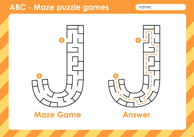 Jeux De Puzzle De Labyrinthe - Alphabet A à Z Jeu De Jeu Amusant Pour Les Enfants Lettre: J Vecteur Premium