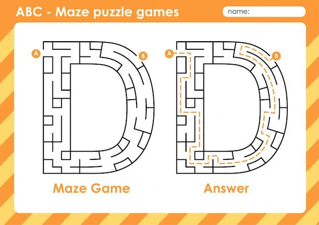 Jeux De Puzzle De Labyrinthe - Alphabet A à Z Jeu De Jeu Amusant Pour Les Enfants Lettre: D Vecteur Premium