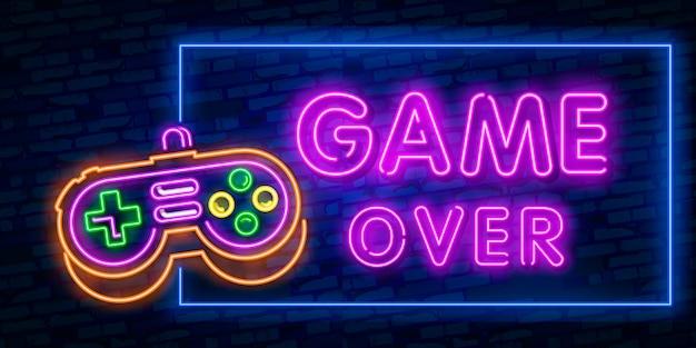 Jeux, sur texte néon avec contrôleur Vecteur Premium