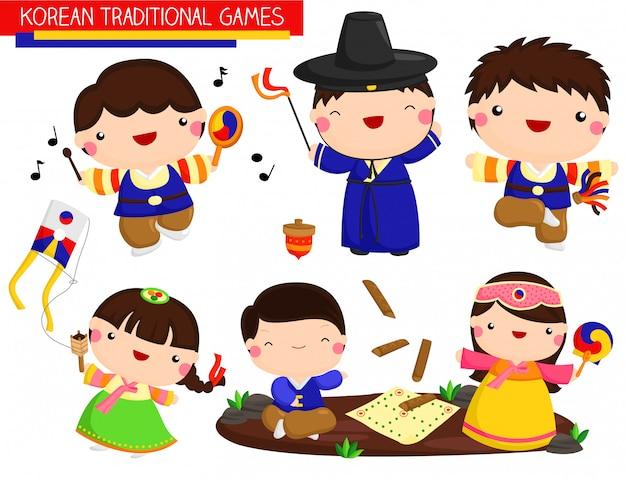Jeux traditionnels coréens Vecteur Premium