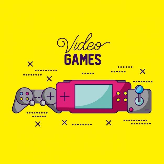 Les Jeux Vidéo Conçoivent Différentes Consoles Et Illustration De Commandes Vecteur gratuit