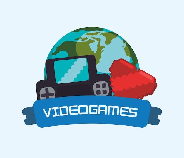 Jeux vidéo en ligne world heart heart Vecteur Premium