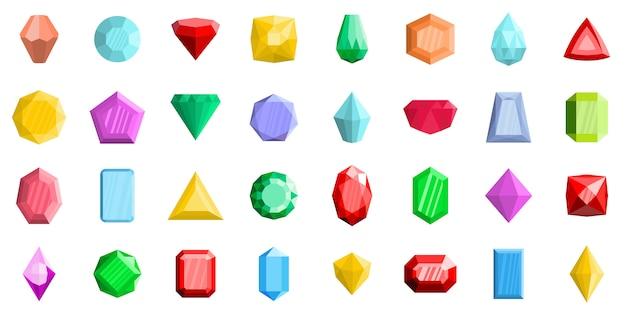 Jewel icons set Vecteur Premium